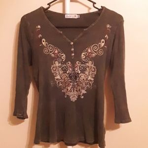 UNITY CHARCOAL GREY BLING 3/4 SLEEVE TOP PETITE L